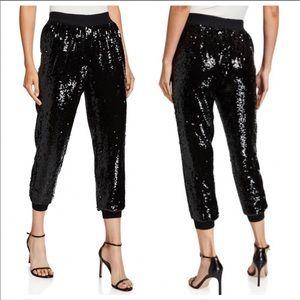 Alice & Olivia Black Sequin Crop Pants 10